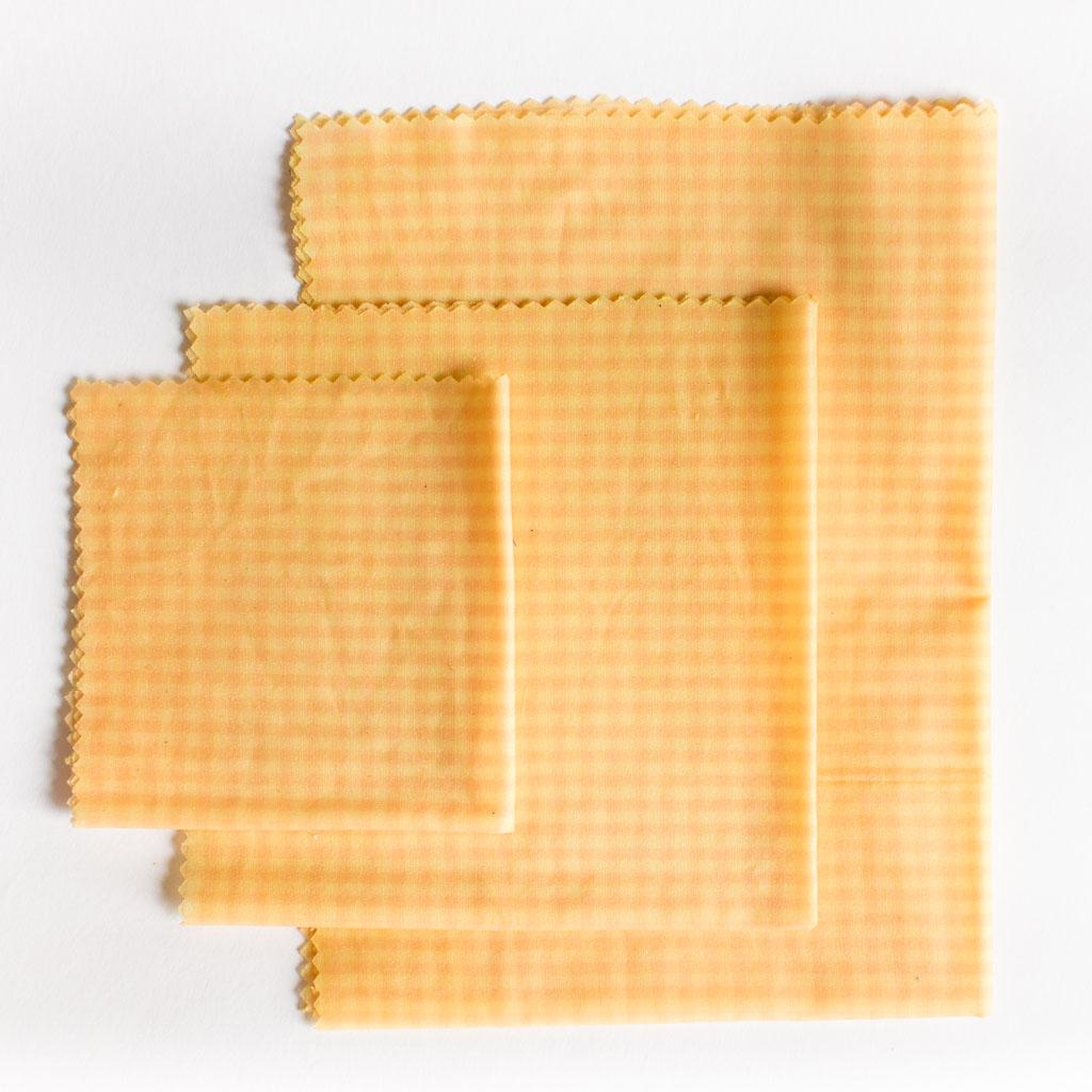 Pano de Cera - Kit 3 tamanhos - Beewax Wrap - xadrez alaranjado