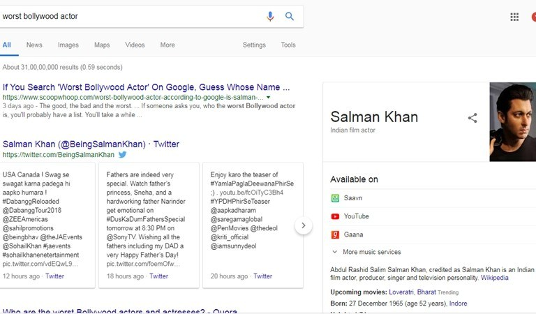 Google shows Salman on searching for  'Worst Bollywood Actor'