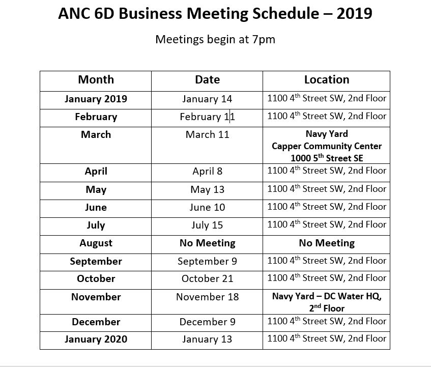 February Anc March 2019 Calendar ANC 6D Meeting Schedule – Advisory Neighborhood Commission 6D