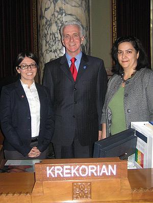 ANC-WR Government Relations Director Lerna Kayserian Shirinian, LA City Councilmember Paul Krekorian and ANC Crescenta Valley Chairwoman Romina Der Bedrossian.
