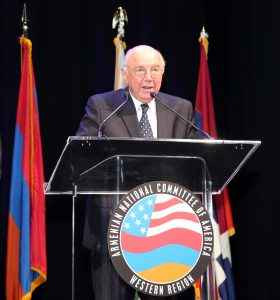 Walter Karabian receiving Legacy Award from ANCA-WR