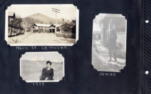 Photo album page, photos of Main Street, Lemoine, Aunt Irene in 1918, and James Bayard.