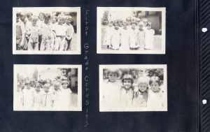 Photo album page of four photos of first graders in Ceres in 1925.