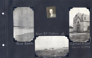 Photo album page of three photos of scenes from Moss Beach, Pacific Grove, and of the Carmel Mission, probably from 1920