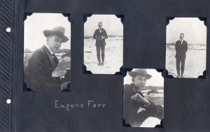 Photo album page, four photos of a young man.