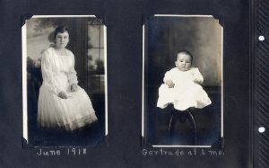 Photo album page with two photos, one of Marjorie Clifford in 1918 and the other of Gertrude at 6 months in 1916.
