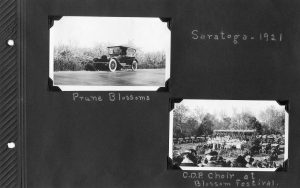 Photo album page, two photos of Saratoga in 1921, at the Prune Blossoms Festival