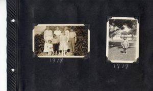 Photo album page, photo of Ludwig family in 1917, and another photo, maybe of Gertrude, in 1919.