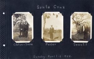 Photo album page, three photos of trip to Santa Cruz in 1924, one with a young couple, the second with the fellow alone, and the third of another couple