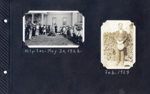 Photo album page, one photo of a ceremony with many people around a flagpole in Milpitas in 1922, the other of a man dated Feb 1924