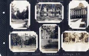 Photo album page, two photos of the Capitol in Sacremento, and four of the Chico State Teachers' College, in 1924
