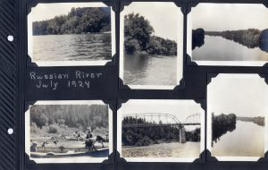 Photo album page, six photos of the Russian River in July, 1924