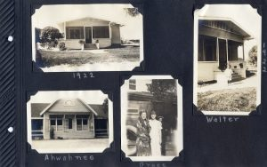 Photo album page, two photos of the house in Hughson in 1922, one with a boy in front; a picture titled 'Ahwahnee' but not likely from Yosemite, and a photo of two young women