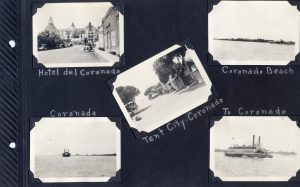 Page from Photo Album, five photos of Coronado in 1924