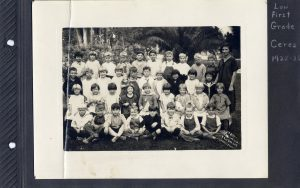 Page from Photo Album Aunt Irene's First Grade Class in Ceres in 1925-6