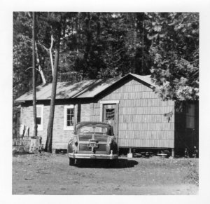 Tim & Jeannette's car and house at Forbestown in the early 50's