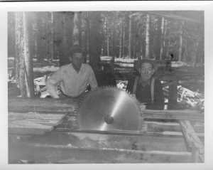 Van & Henry at mill 1946