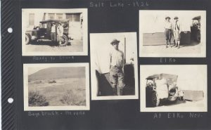 In 1926, Aunt Irene (Ludwig) and Uncle Pete (Cletus Burns) took a trip to the Great Salt Lake. They appear to have traveled with another couple I can't identify. The car is packed! Here they make it to Nevada, for sagebrush, and to Elko.