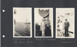 The Boat to Catalina, with the San Pedro lighthouse in the distance. Aunt Irene in one photo, and she and Uncle Pete in the other.