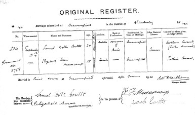 Coutts and Masencamp Marriage Certificate