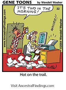 Genetoons #032 - Hot On The Genealogy Trail!