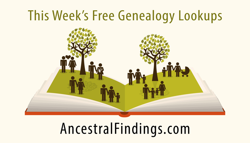 This Week's Free Genealogy Lookups (October 19)