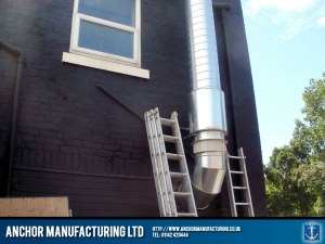 Pub kitchen external wall mounted ducting.