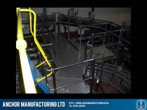 Factory hand railing and steel mezzanine floor.