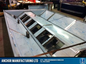 Fabrication process of industrial kitchen canopy.