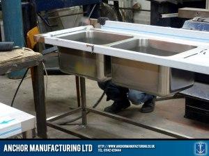 Bespoke kitchen sink in steel.