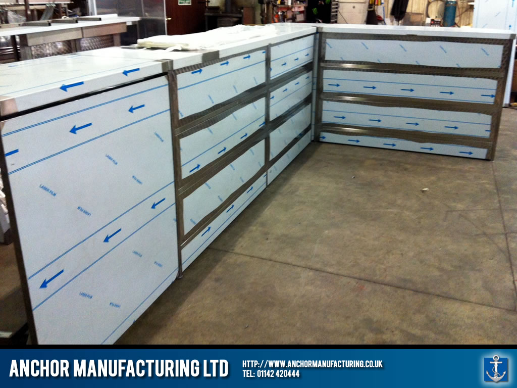 Shop Countertops : Sheffield stainless steel shop counters. Anchor Manufacturing LTD