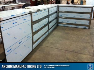 Sheffield stainless steel shop counters.
