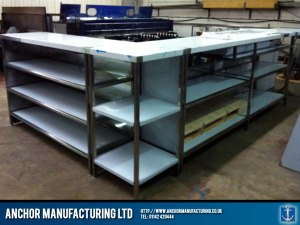 Shop counter stainless steel.