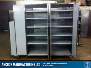Kitchen Storage cupboards in Sheffield stainless steel.