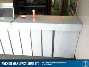 Stainless steel shop counter worktop.