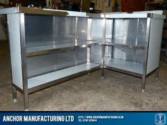 Steel breakfast bar storage area.