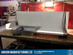 Stainless steel sandwich shop griddle.