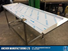 stainless steel fabricated wallbench being made