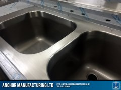 Double Sink Unit in steel.