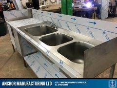 three bowl storage sink unit