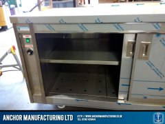 stainless steel hot cupboard large sliding doors