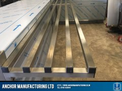stainless steel shop counter serving area