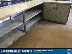 stainless steel shop counter behind