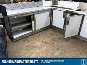 stainless steel cupboard sliding doors open
