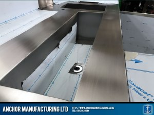 stainless steel long sink detail