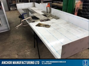 stainless steel sink kitchen work surface fabrication