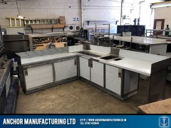 stainless steel worktop and cupboard