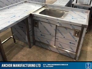 Domestic Stainless Steel Sink cupboard doors
