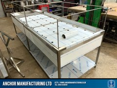 Sheffield Stainless steel framed mortuary table reverse