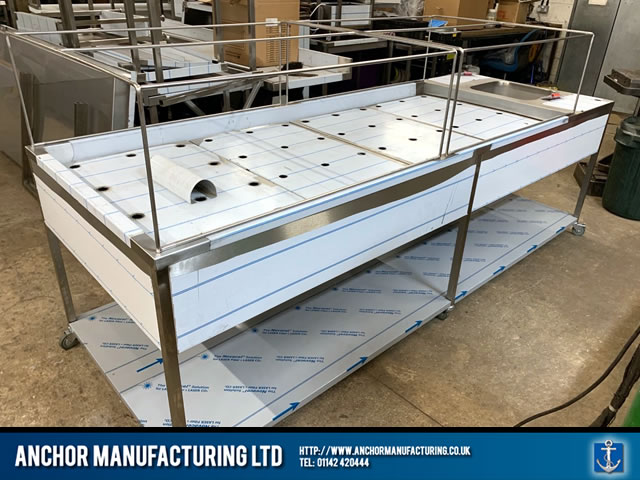 Unique Sheffield Stainless steel framed mortuary table